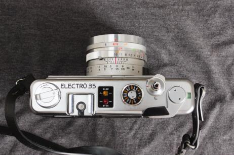 A view of the top plate, showing all the regular items you would expect on a camera like this